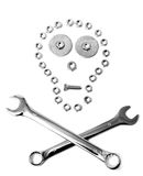 Nuts & bolts danger abstract conposition skull Stock Photography