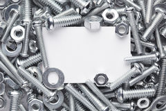 Nuts and bolts frame. Nuts, bolts and washers frame Stock Photos