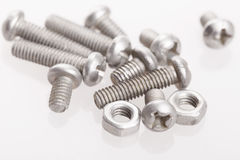 Nuts and bolts isolated on a white background with clipping path Royalty Free Stock Photography
