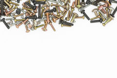 Nuts / Bolts / Long Screws Closeup On White Background Royalty Free Stock Photography