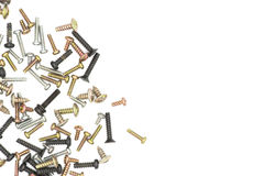 Nuts / Bolts / Long Screws Closeup On White Background Stock Image
