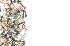 Nuts / Bolts / Long Screws Closeup On White Background Stock Images