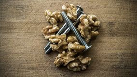 Nuts and bolts 2. A mix of walnuts and bolts as the common phrase, but with some humor and creative thinking. Excellent to illustrate: administration, education Royalty Free Stock Photos