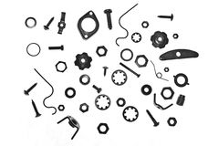 Nuts, bolts and screws Stock Images