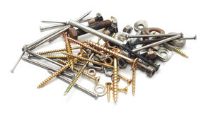 Nuts bolts and screws Royalty Free Stock Photo