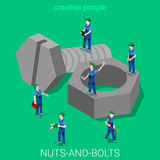 Nuts-and-bolts servicemen in uniforms flat 3d isometric vector. Nuts-and-bolts flat 3d isometry isometric easiness primary basics concept web vector illustration Stock Photo
