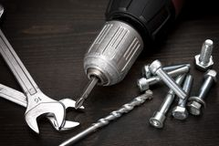 Nuts, bolts and tools Royalty Free Stock Photos