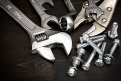 Nuts, bolts and tools Royalty Free Stock Image