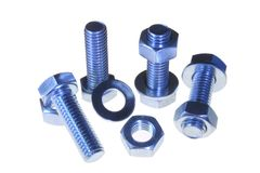 Nuts and bolts with washers Stock Photography