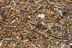 Nuts, bolts and washers closeup Stock Images