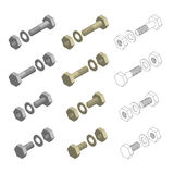 Nuts Bolts Washers Hardware Isometric Set Royalty Free Stock Images