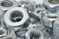 Nuts, bolts and washers Royalty Free Stock Images