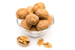 Nuts on bowl with unshelled Stock Photo