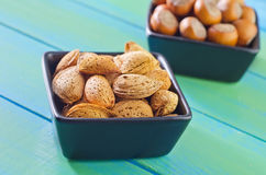Nuts in bowls Royalty Free Stock Photo