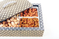 Nuts box on white background. Dry Fruit Box. Royalty Free Stock Photography