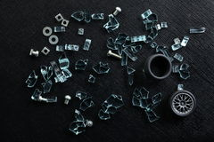Nuts and broken glass Stock Photo