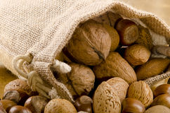 nuts in a brown jute bag Royalty Free Stock Photography