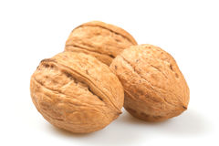 Nuts. Brown nuts on a white background stock images