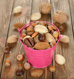 Nuts in a bucket Royalty Free Stock Images