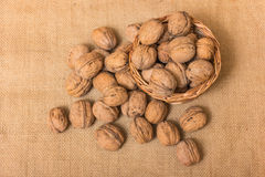 Nuts on burlap background Royalty Free Stock Photography