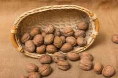 Nuts on burlap background Royalty Free Stock Photo