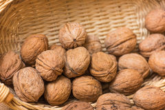 Nuts on burlap background Stock Images