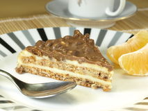 Nuts cake. Nuts chocolate cake dessert - closeup stock image