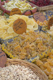Nuts and candied fruit at the market. Royalty Free Stock Photography