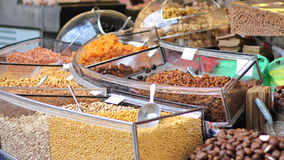 Nuts and candy display Royalty Free Stock Photography