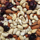 Nuts: cashews, almonds, hazelnuts and dried cranberries Royalty Free Stock Photo
