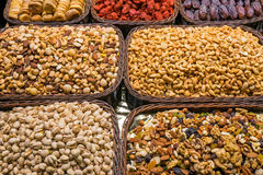 Nuts and cereals at a market Royalty Free Stock Images