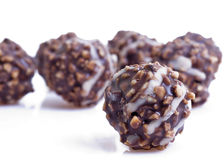 Nuts in chocolade stock image