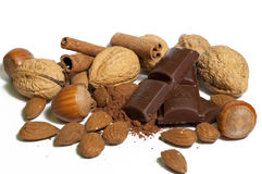 Nuts, chocolate and almonds Stock Photography
