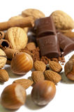 Nuts, chocolate and almonds Stock Images