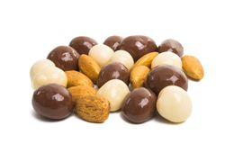 nuts in chocolate isolated stock images