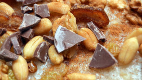 Nuts ,chocolate and raisins in ashure pudding Royalty Free Stock Images