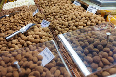 Nuts in chocolate  at Spanish market Royalty Free Stock Images