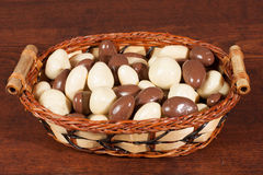 Nuts in chocolate in whisker basket Royalty Free Stock Photos