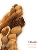 Nuts with cinnamon and anise Royalty Free Stock Photography