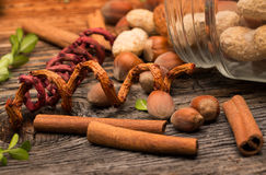 Nuts and cinnamon sticks Royalty Free Stock Photos