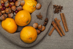 Nuts and citrus Royalty Free Stock Photo