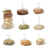 Nuts in clear bags Stock Image