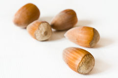 Nuts closeup. Group of nuts closeup on white background Royalty Free Stock Photo