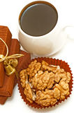 Nuts and coffee top view Royalty Free Stock Photo