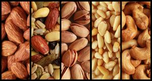 Nuts collage Royalty Free Stock Photos