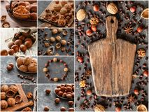 Nuts collage, different colorful nuts backgrounds. Healthy food. Royalty Free Stock Photo