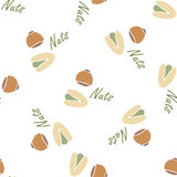Nuts collection tileable texture vector. Suits for fabric and package print Stock Image