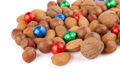 Nuts with colorful chocolate balls Stock Image
