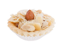 Nuts cupcake isolated on white. Background Royalty Free Stock Photos