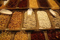 Nuts. Different sorts of Nuts on Farmers Market in Barcelona. Spain stock photos